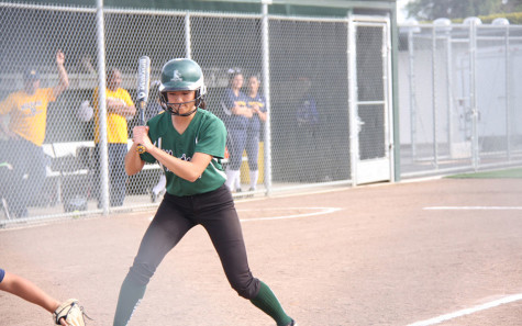 Junior Nancy Liu steps up to the plate. Photo courtesy of HHS Athletic Boosters