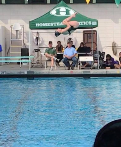 Junior Varsity Captain Anna Dupin completes a flipping dive