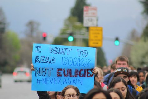 HHS students participated in a walkout on March 14. Photo by Riley Anderson.