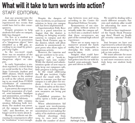 Principal responds to Staff Editorial in Dec. 11 issue.