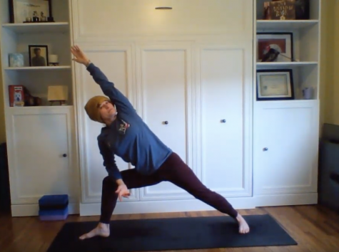 French teacher Kelly Ronsheimer has been posting daily yoga videos and sharing them with staff and students.