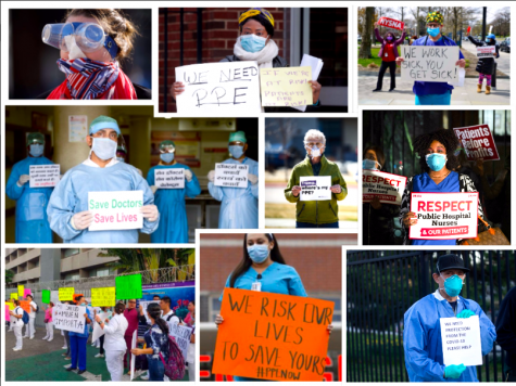 Healthcare workers and citizens protesting the lack of PPE and unfair treatment of medical personnel.