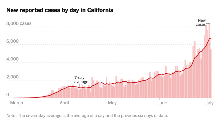 As seen in the graph above, since reopening, the amount of new COVID-19 cases has increased rapidly.