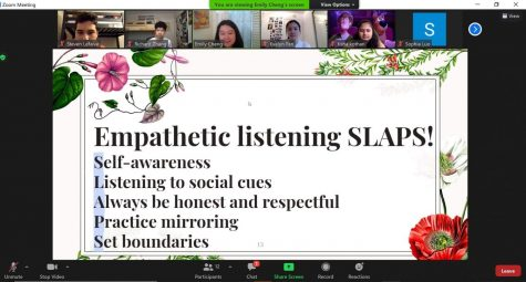 Biweekly mini lesson: Mental Health Awareness Club's officers present a lesson through Zoom on empathetic listening.