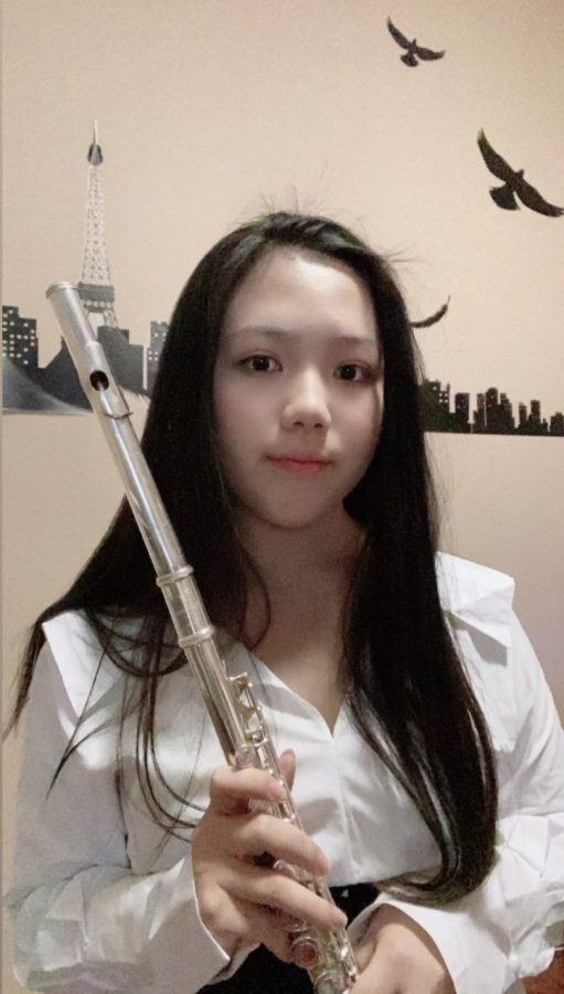 "Sophomore Melody Huang has been part of the Homestead band community since last year and said she finds it hard to be engaged during the course with a lack of opportunities to practice with others. ""I personally like [virtual band] more because I don't have to meet people, even though we still play,"" Huang said, ""But it's harder in some way since it's a pretty interactive class."" Huang is a flutist in the Symphonic Band."