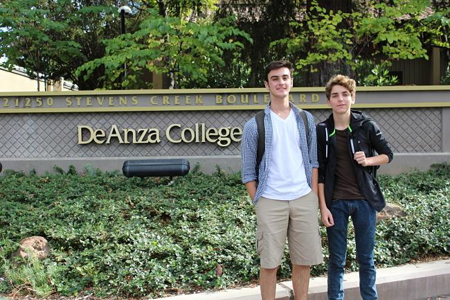 Middle college students Declan Reiser (right) and Eric Albanese started school on September 10.