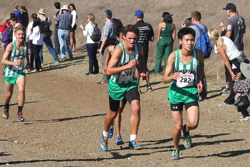 Boys varsity team places third at CCS, qualifying for the CIF State Meet for the second time in school history. From left to right: junior Matthew Bennett, junior Max Sawyer and freshman Ryan Ma. Photo courtesy of Rebecca S.
