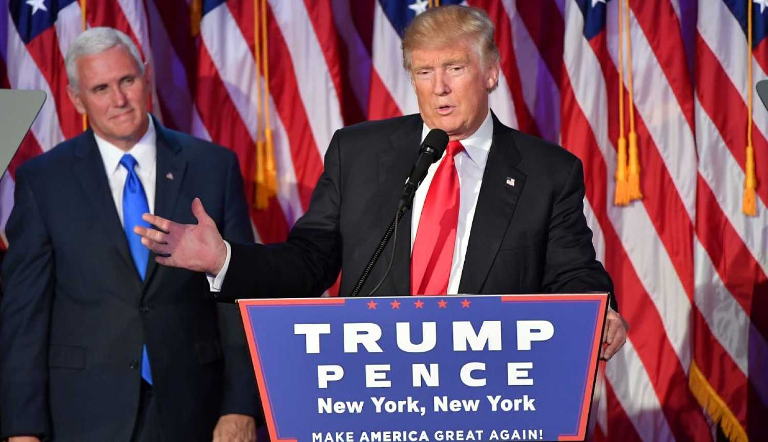 Trump delivers his victory speech early Wednesday morning. Photo courtesy of the Washington Post.