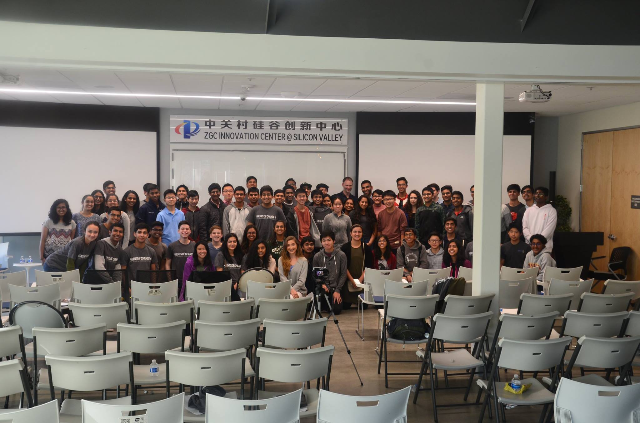 Students pose together at the event.