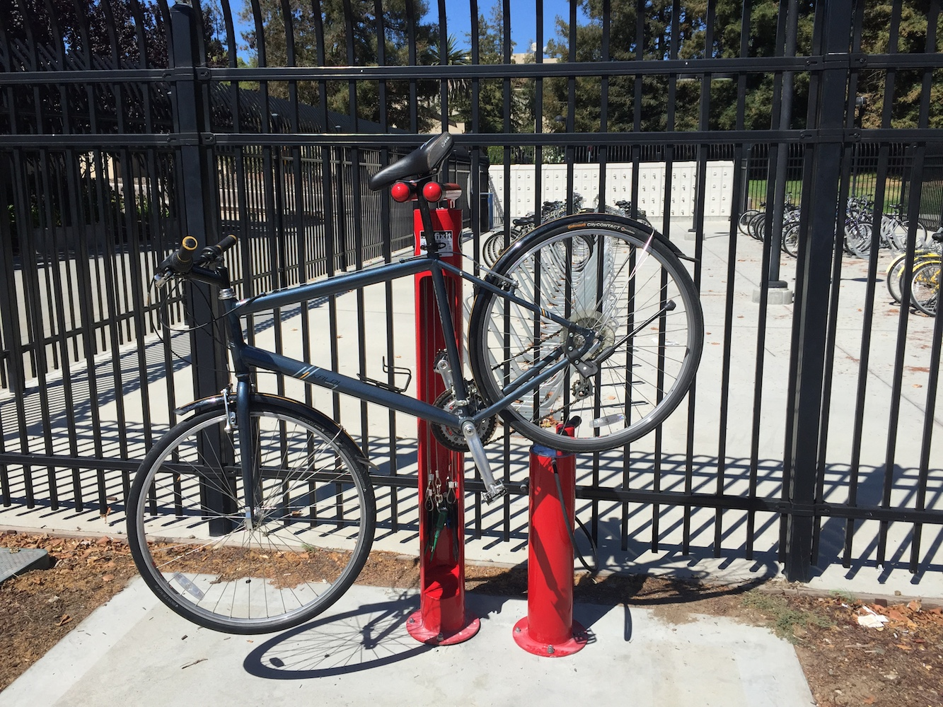 Bikes can be suspended by the station so repairs can be made. Photo courtesy of Larry Dean.