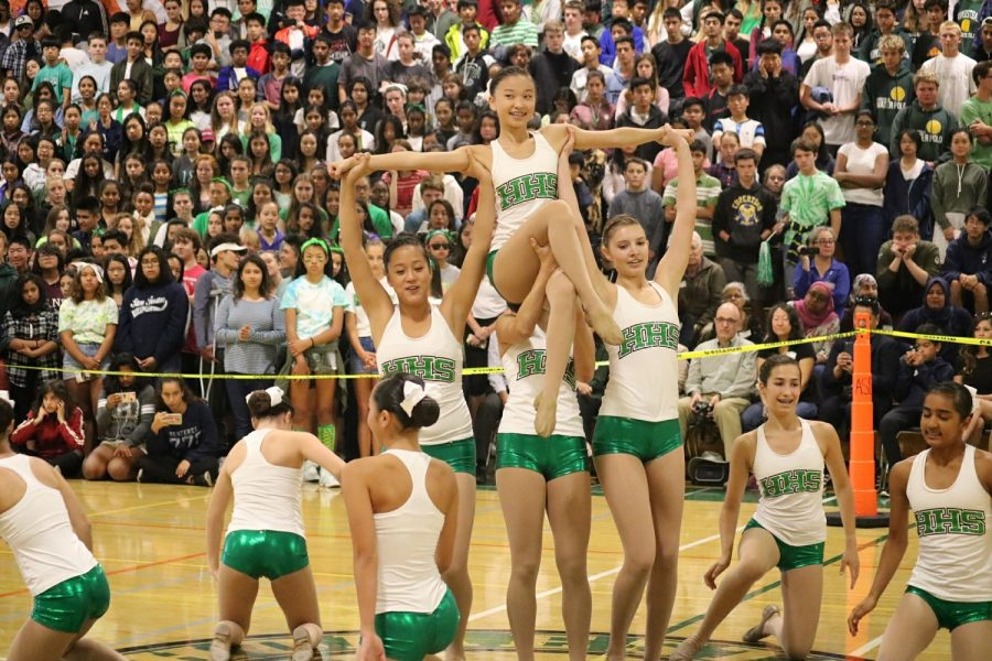 The+HHS+Equestriettes+perform+for+the+entire+school+in+the+rally.