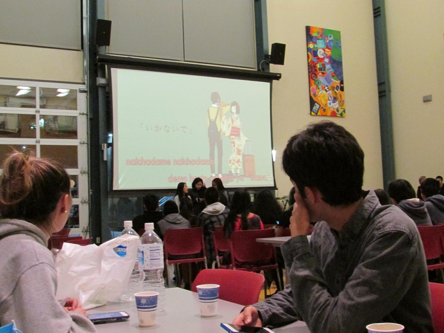 Students at the karaoke social got to experience songs in Japanese from a wide array of different time eras and places.