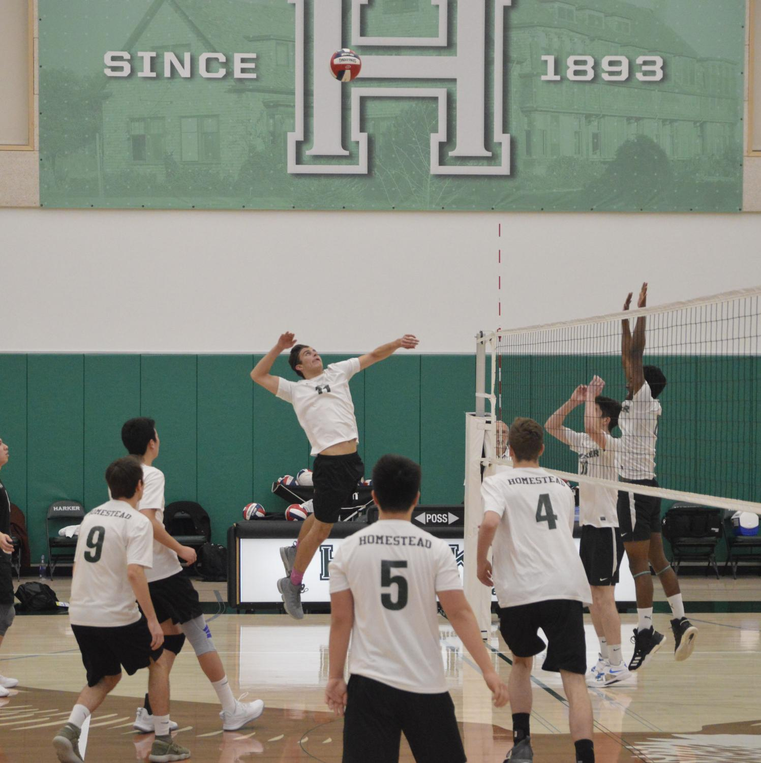 Hitter Seth Markley (12) jumps up for a kill