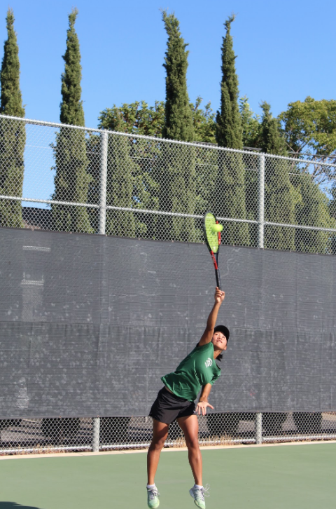 Sophomore Thien Ni Vu is one of the only underclassmen on the varsity tennis team. However, she said she uses that position to her advantage, seeking advice from older players.