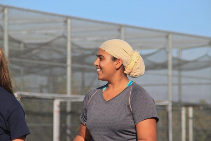 During practice, Shoker is always smiling and laughing with her fellow teammates.