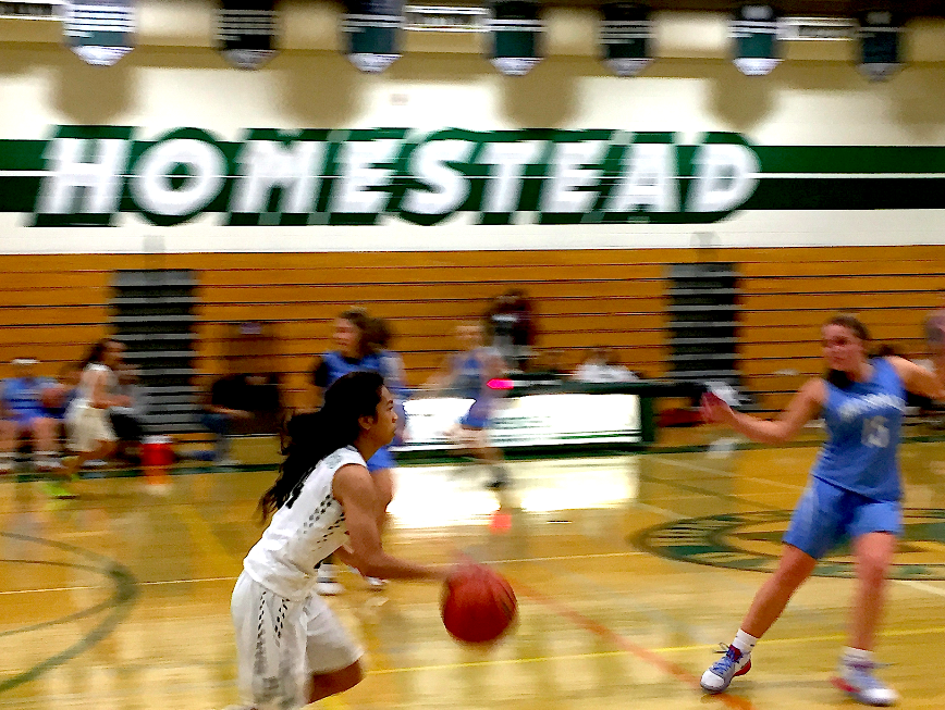 The+girls+varsity+basketball+team+faces+off+against+Hillsdale+High+School+in+a+recent+scrimmage.