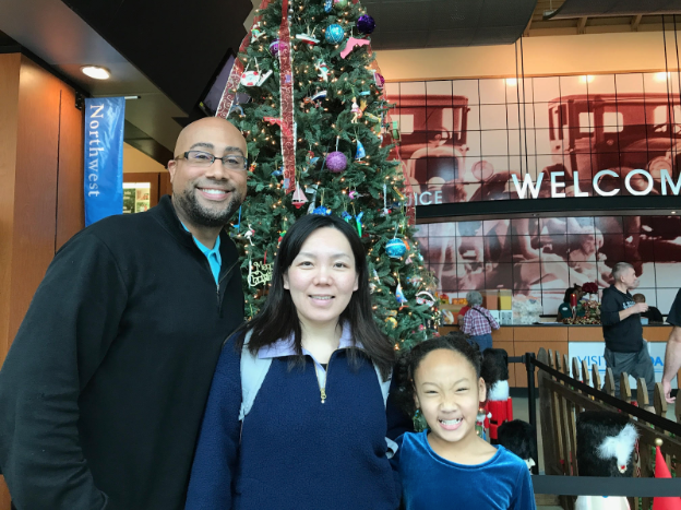Japanese teacher Junko Birdsong celebrates both Christmas and Kwanzaa, sharing new and old holiday traditions with her husband, Khalid, and daughter, Amina.