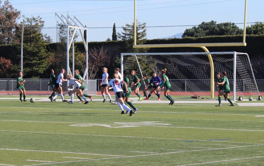 The+girls+varsity+soccer+team+lost+to+the+Santa+Cruz+Cardinals+in+the+CCS+semifinals+on+Feb.+26.