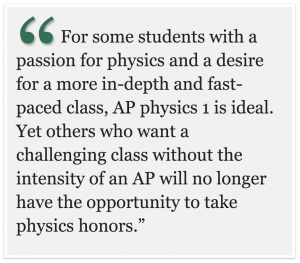 AP physics 1: not worth the removal of physics honors