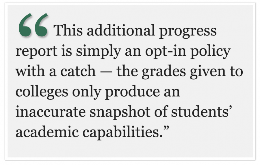 An unnecessary option: FUHSDs opt-in progress reports fail to recognize differences in student learning