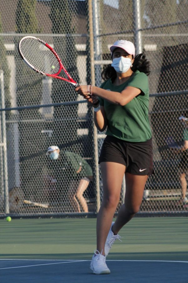 Senior Rujuta Swadi wears a mask while playing in a match against Los Gatos on March 4.