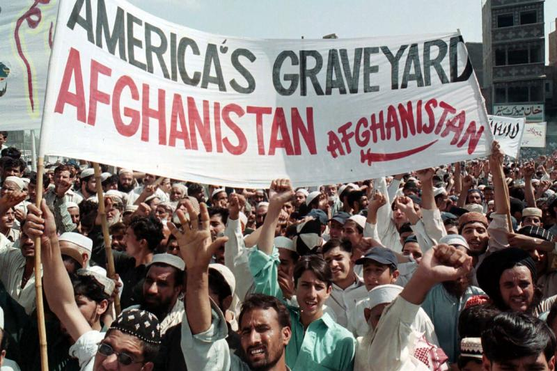 Opponents of American intervention protest the U.S. invasion in Afghanistan in 2001.